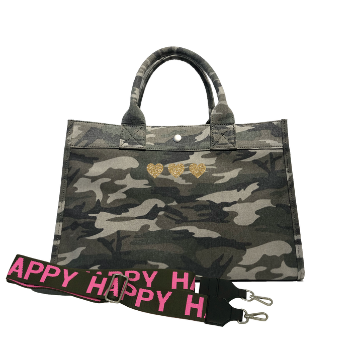 Midi East West Bag: Green Camouflage with Gold Mini Hearts