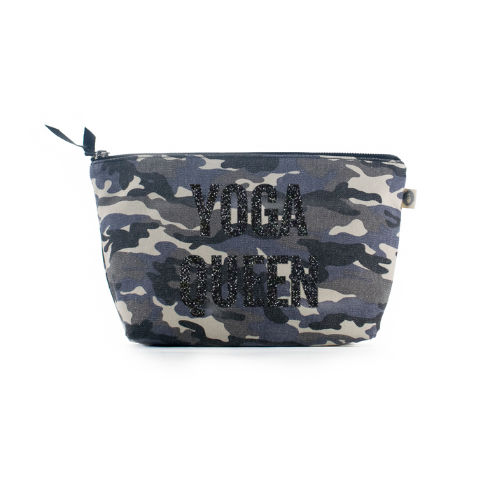 Grey Camouflage Clutch with Black Glitter Yoga Queen