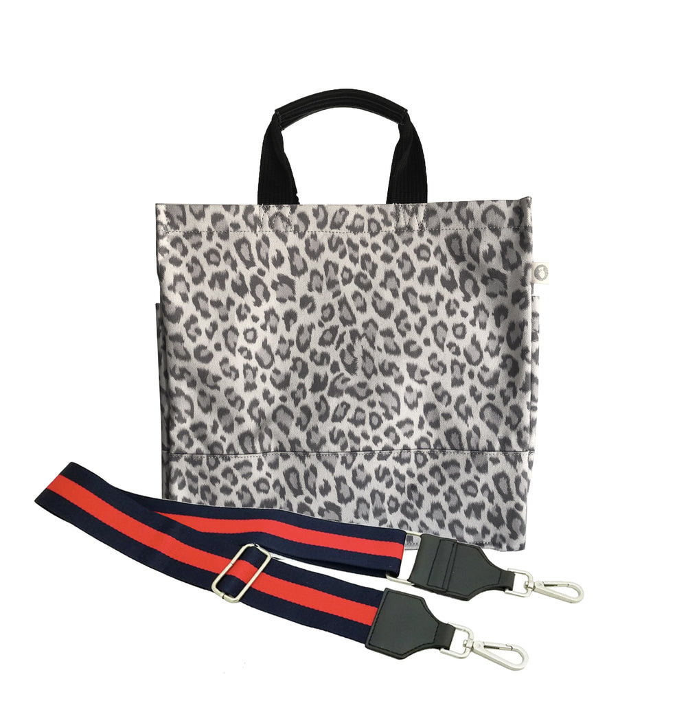 Luxe North South Bag: Grey Leopard