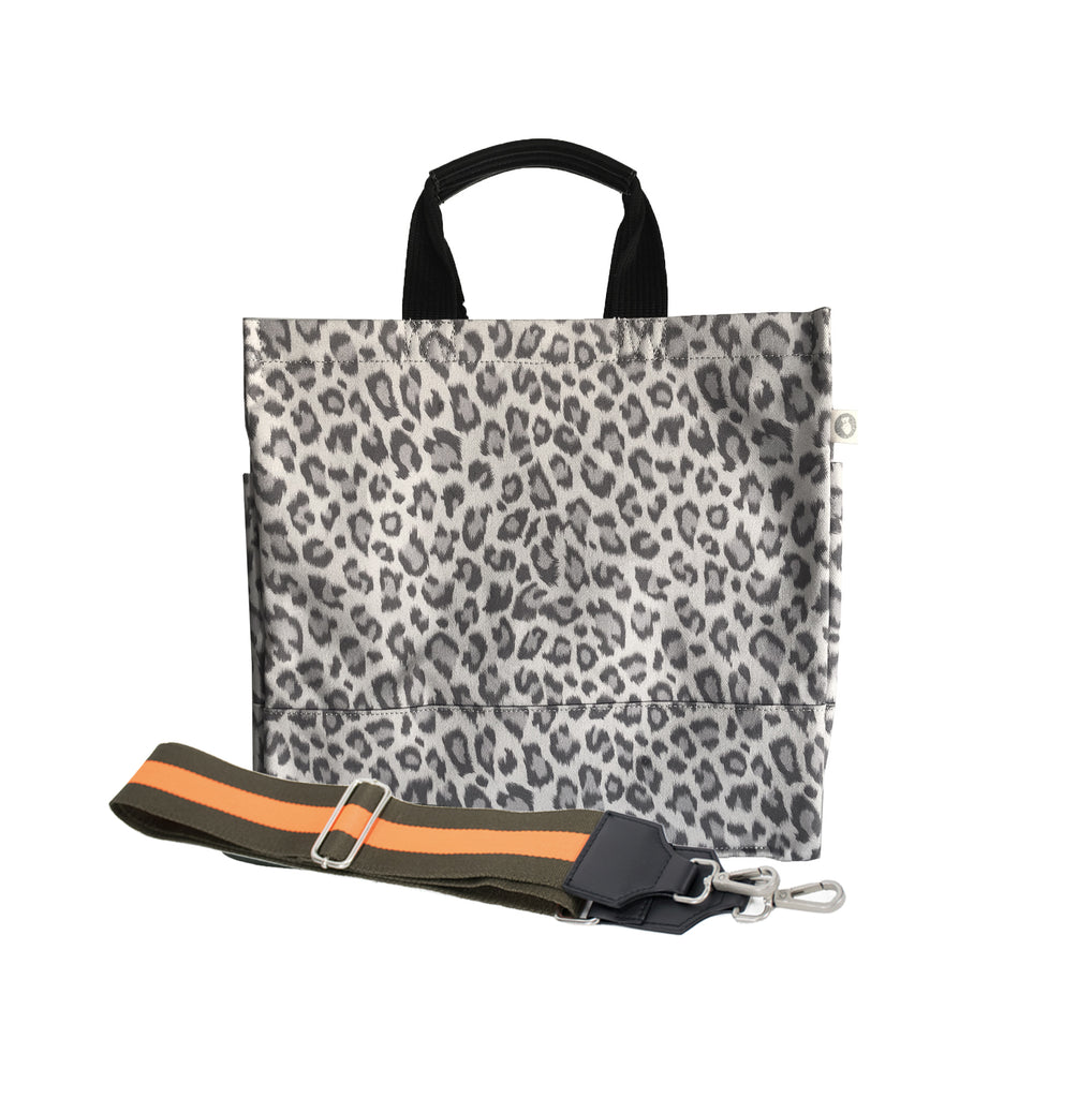 Monogram Stripe: Luxe North South Bag- Grey Leopard