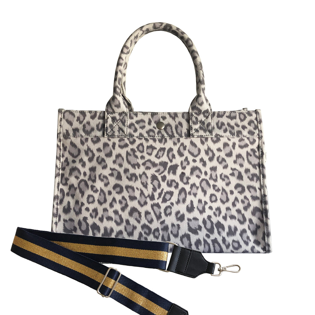 Midi East West Bag: Grey Leopard