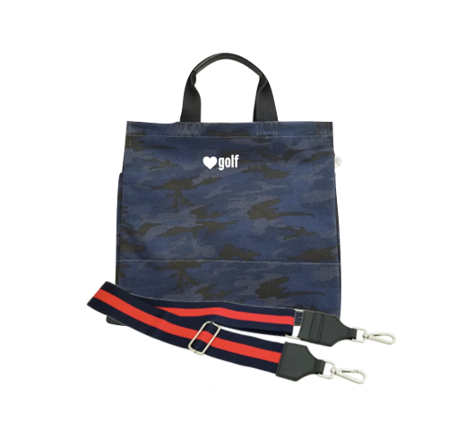 Dark Blue Camo Luxe North South Bag with White Matte Mini Heart Golf & Navy/Red Strap
