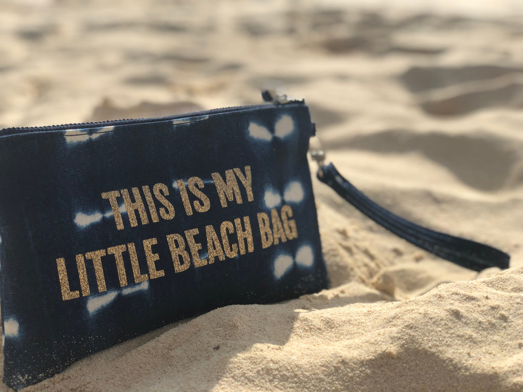 "Mini Luxe Clutch Wristlet: Blue Shibori Gold Glitter ""This is my Little Beach Bag"""