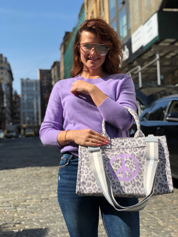Midi East West Bag: Grey Leopard with Lavender Matte Peace Sign
