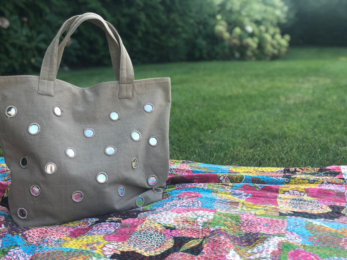 Boho Large Mirror Tote: Olive - FLASH SALE