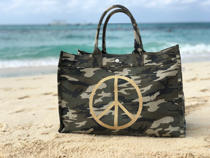 East-West Bag Green Camouflage with Jumbo Peace Sign