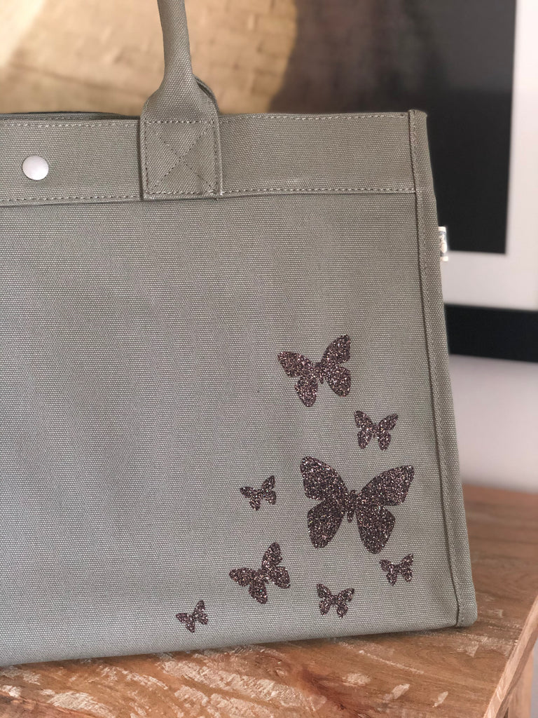 East West Bag: Olive with Chocolate Glitter Scatter Butterflies