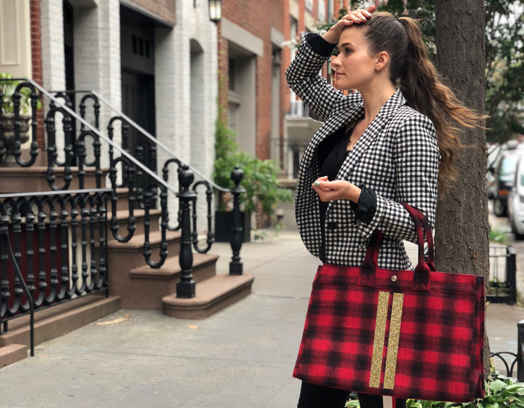 East West Bag: Red Flannel Plaid