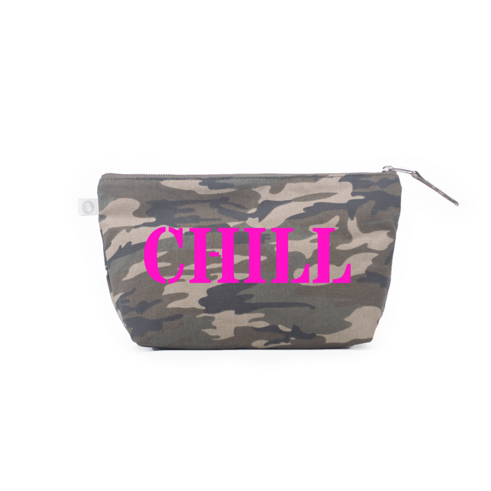 Clutch Bag: Green Camouflage - Pink Matte Chill