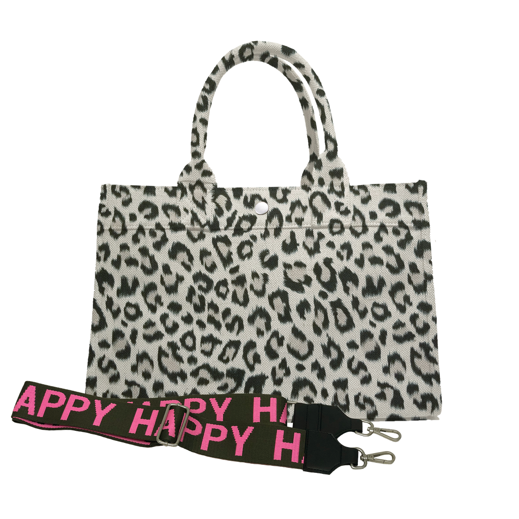 Midi East West Bag: Leopard with Color Stripes