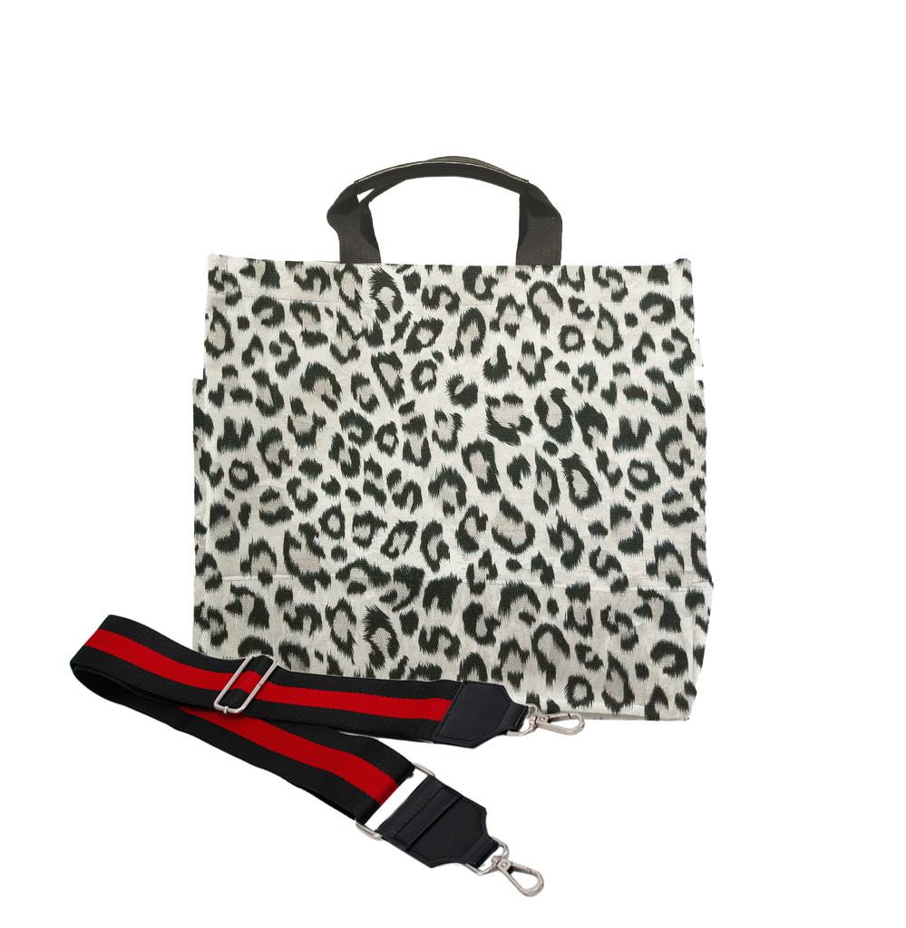 Monogram Stripe Leopard North South Bag