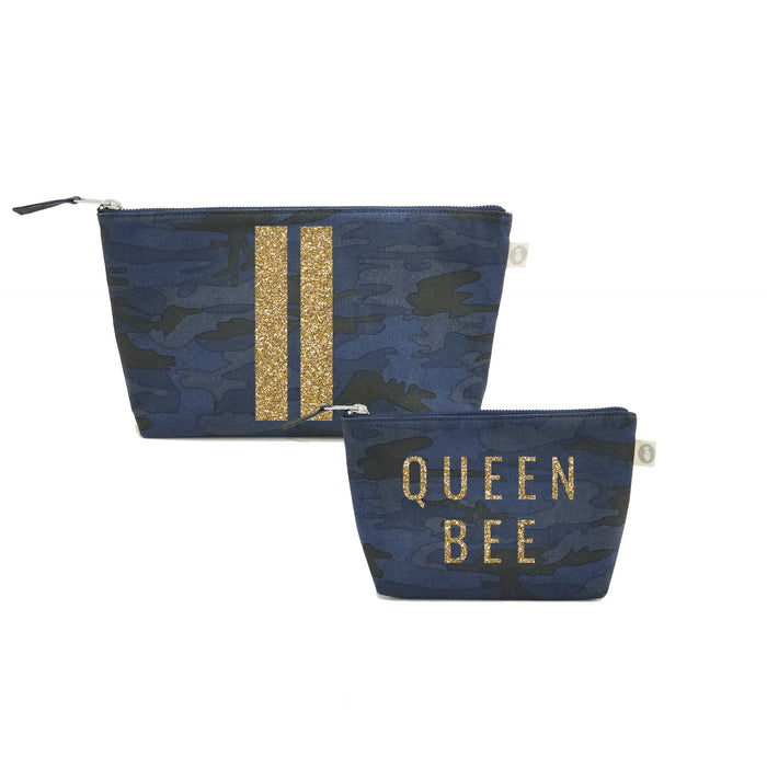 Special Mother's Day Bundle Dark Blue Camo Clutch & Makeup Gold Glitter Double Stripe & Queen Bee