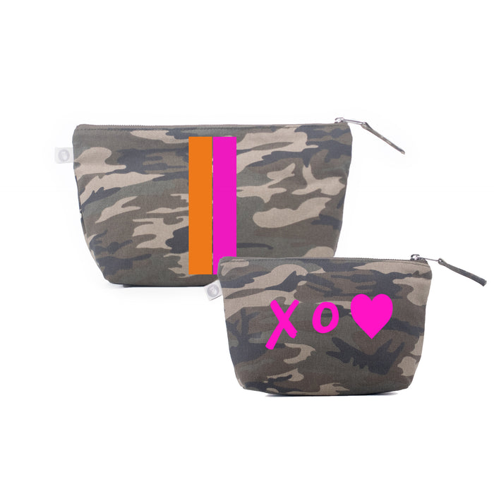 Special Mother's Day Bundle Green Camo Clutch & Makeup Orange/Pink Stripe & Neon Pink XO Heart
