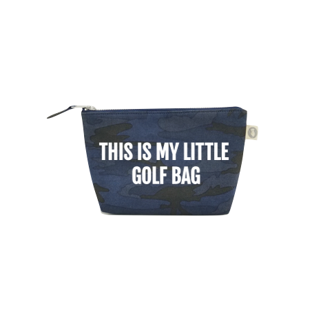 "Makeup Bag Dark Blue Camo with White Matte ""This is my Little Golf Bag"""