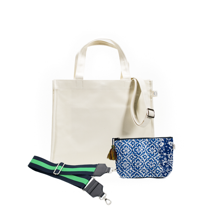 Natural Magazine Bag with Navy/Green Strap & Blue Boho Makeup Bag (Only $64, plus a FREE Strap + Makeup Bag with code: SUMMER64)