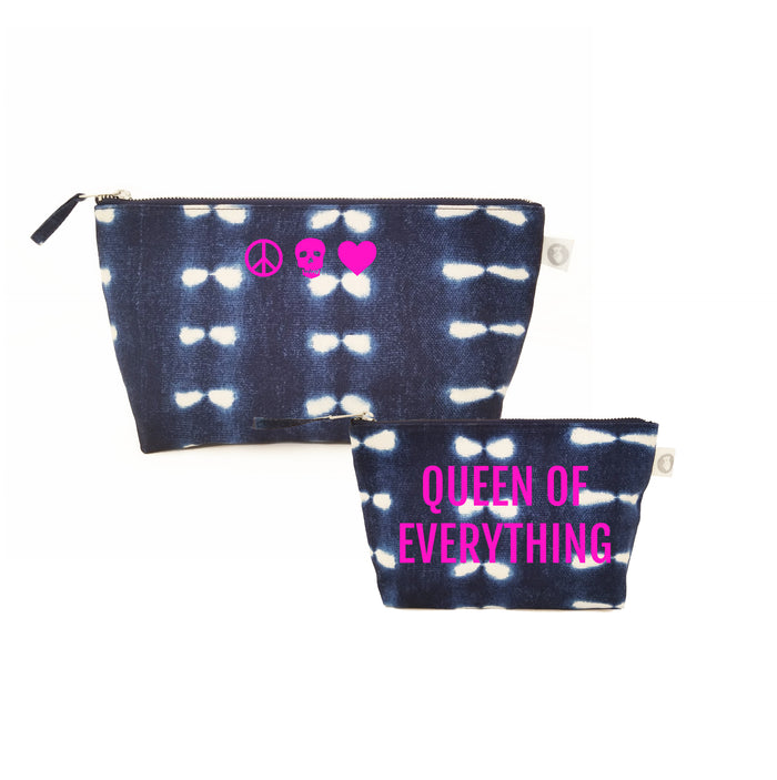 Special Mother's Day Bundle Blue Shibori Clutch & Makeup Neon Pink Mini Peace/Skull/Heart & Queen of Everything