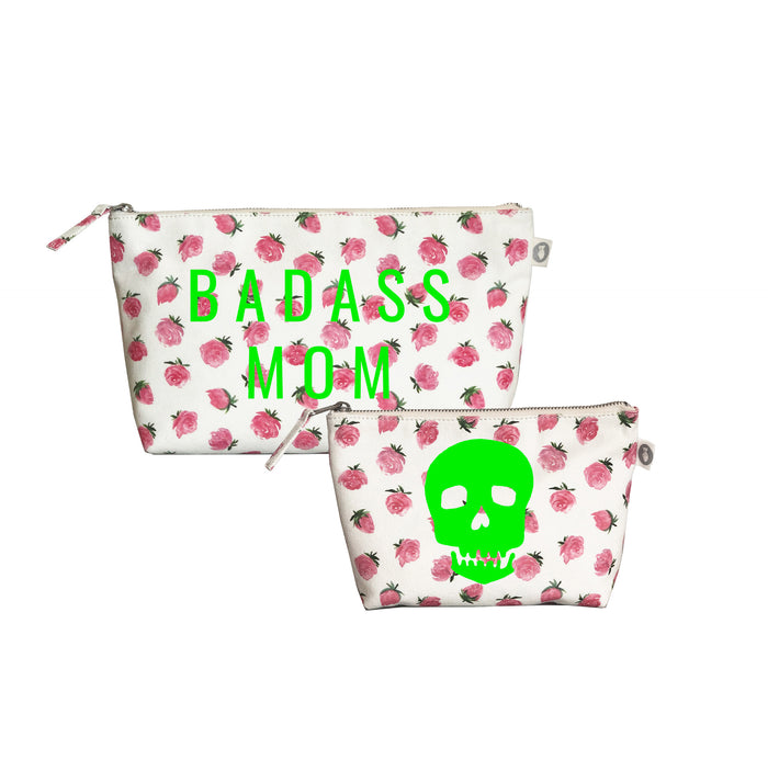 Special Mother's Day Bundle White Floral Clutch & Makeup Neon Green BADASS MOM & Skull