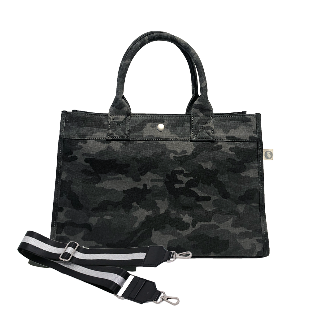 Midi East West Bag: Black Camouflage