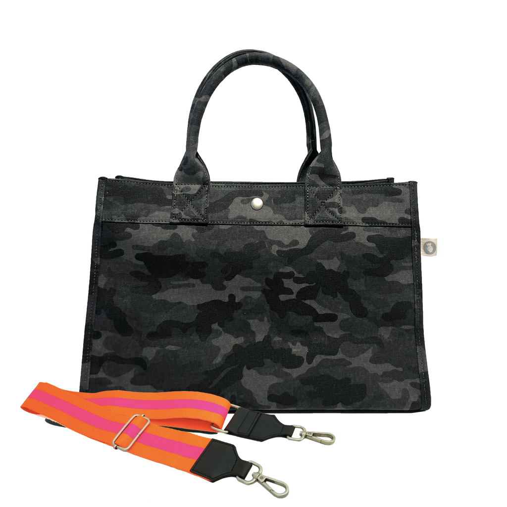 Midi East West Bag: Black Camouflage with Color Stripes