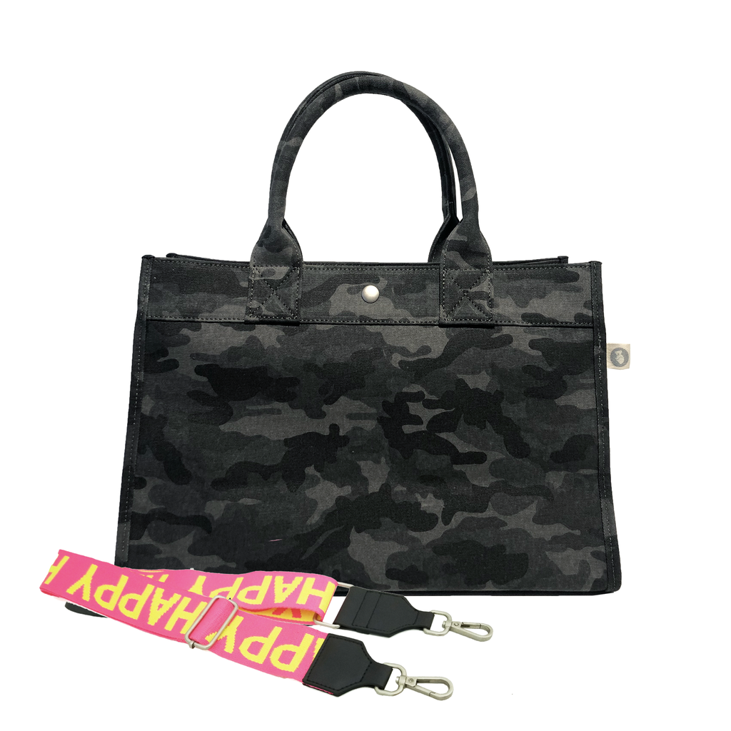 Split Letter Monogram Midi East West Bag: Black Camouflage