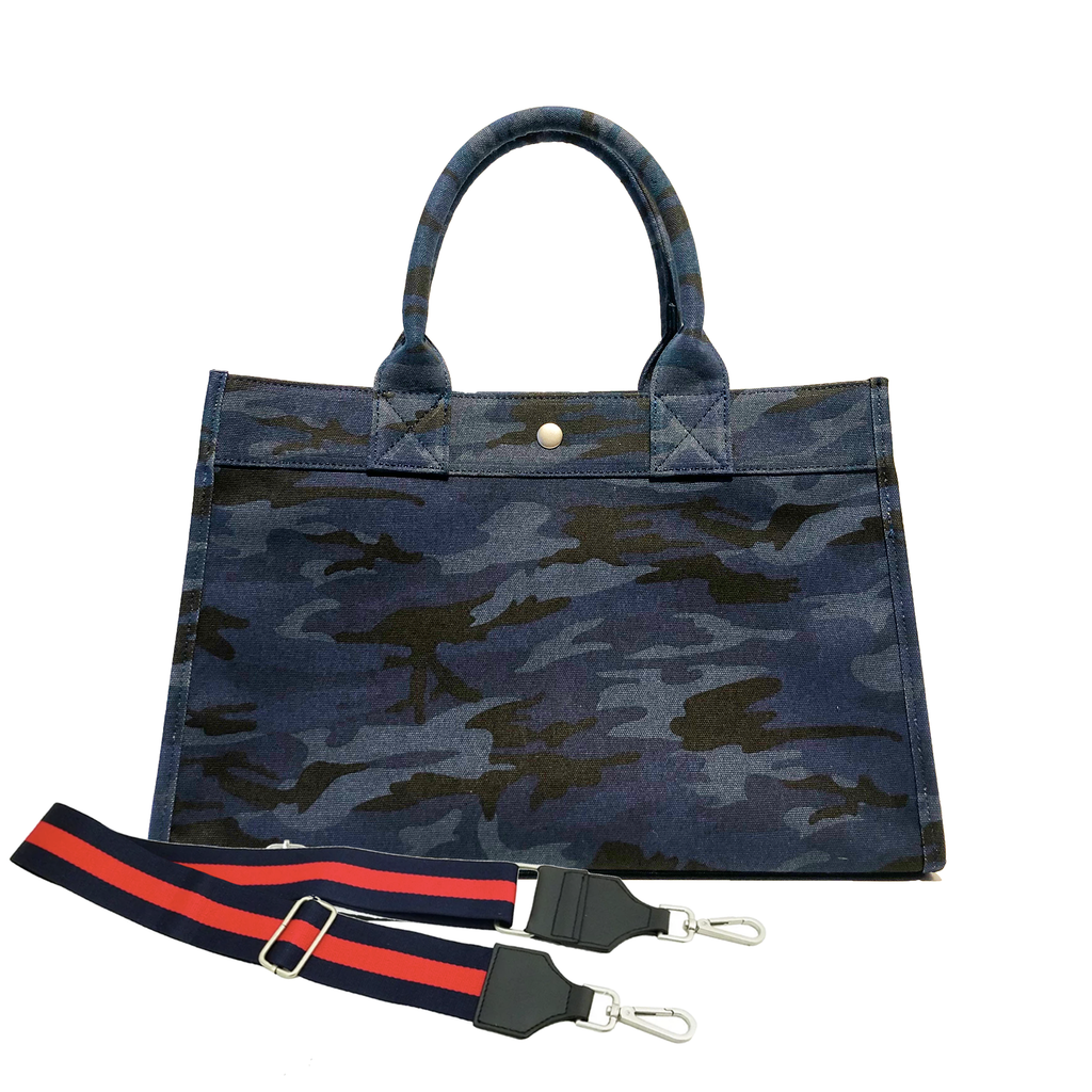 Split Letter Monogram Midi East West Bag: Dark Blue Camouflage