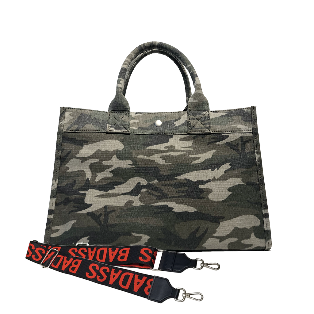 Split Letter Monogram Midi East West Bag: Green Camouflage