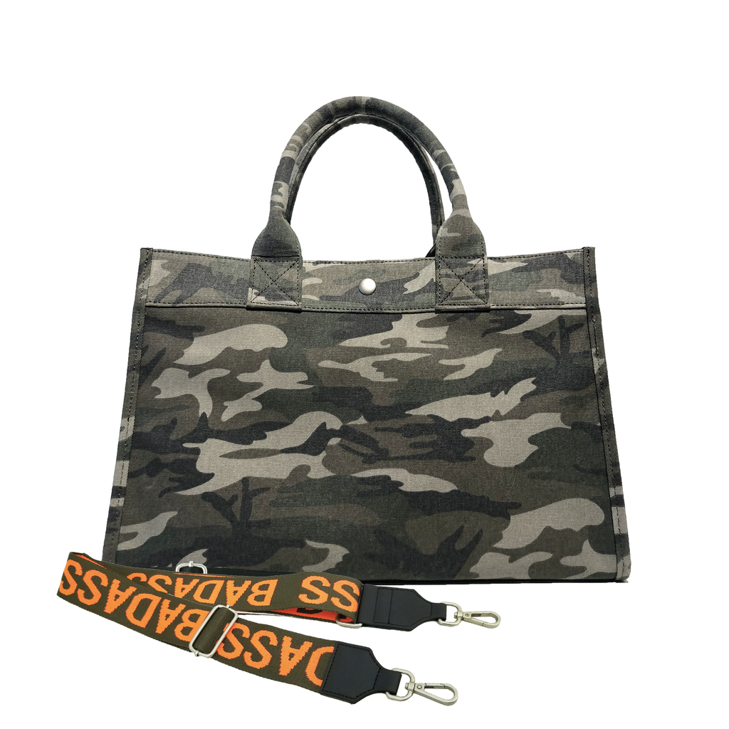 Midi East West Bag: Green Camouflage with Color Stripes