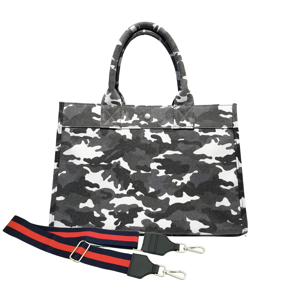 Midi East West Bag: Grey Camouflage with Color Stripes