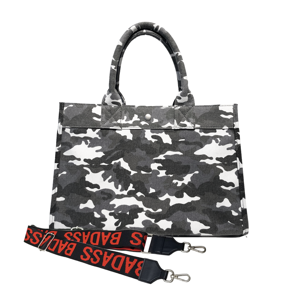 Split Letter Monogram Midi East West Bag: Grey Camouflage