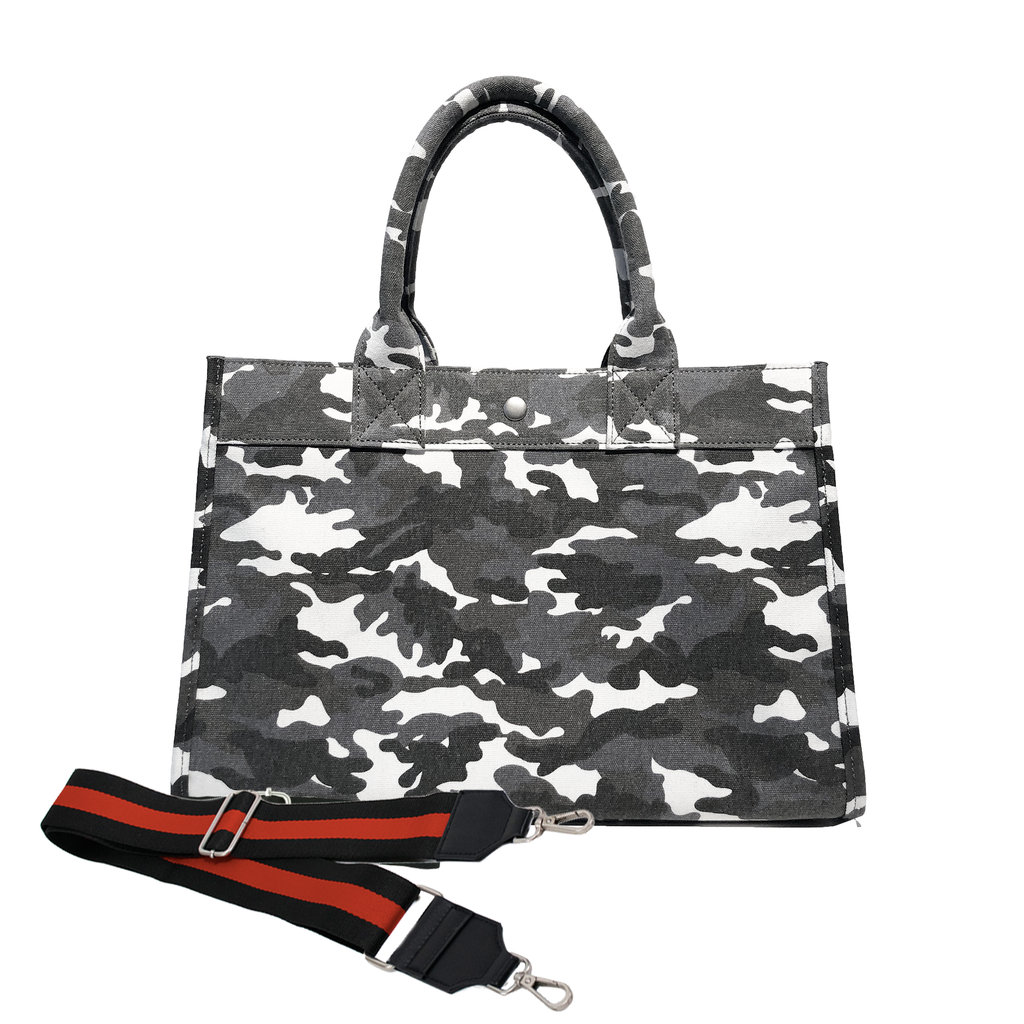 Midi East West Bag: Grey Camouflage