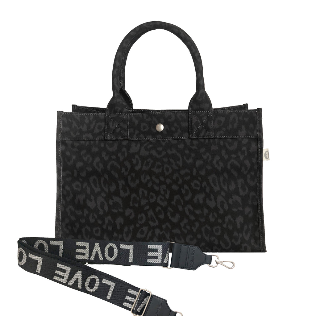 Midi East West Bag: Black Leopard  NEW ARRIVAL!