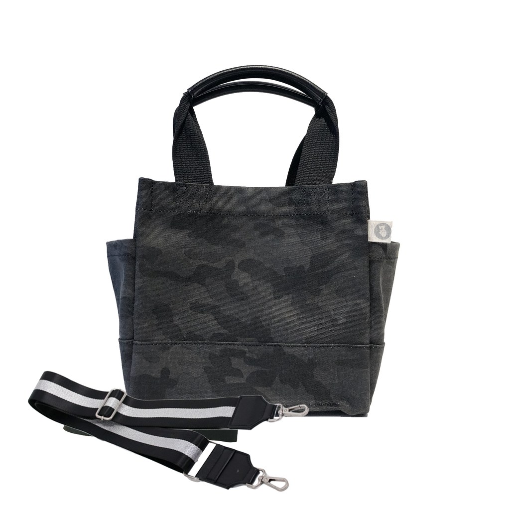 Mini Luxe North South Bag: Black Camouflage with Color Stripes