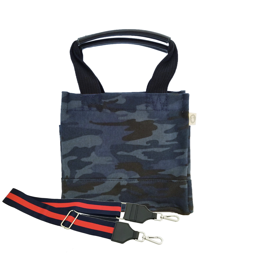 Mini Luxe North South: Dark Blue Camouflage with Color Stripes