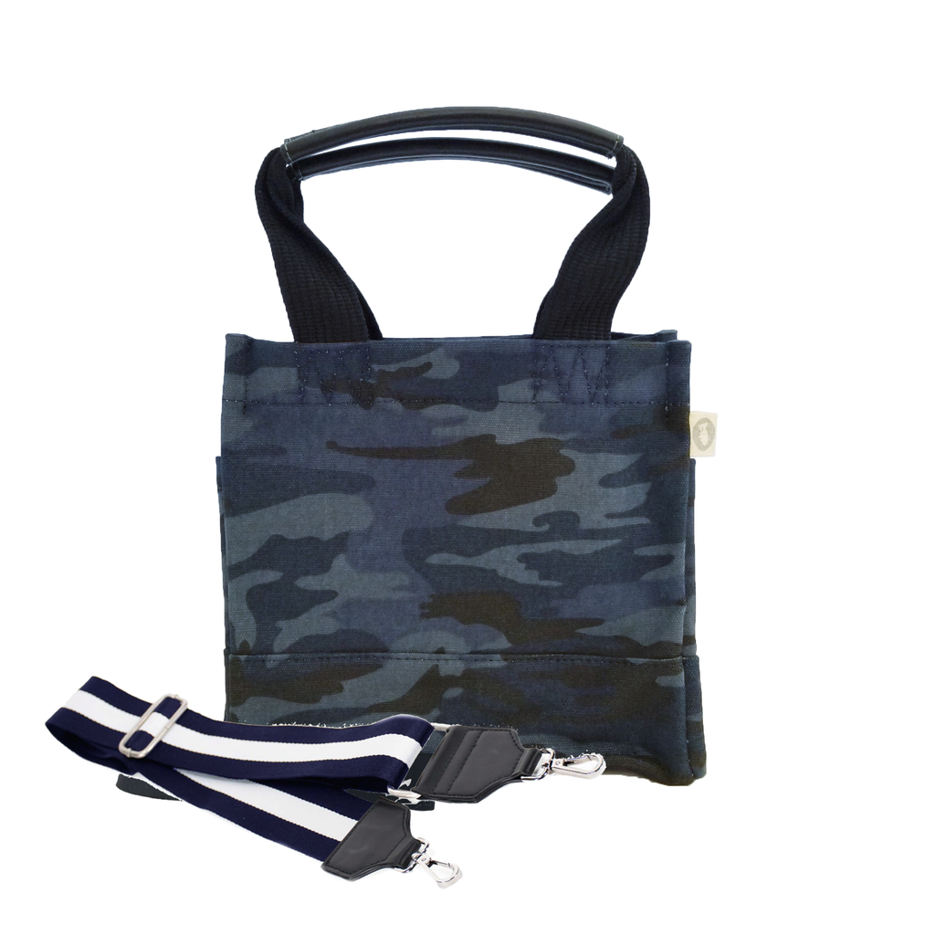 Mini Luxe North South: Dark Blue Camouflage