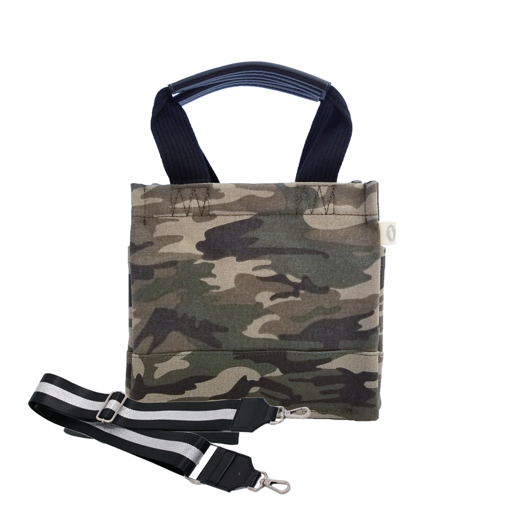 Mini Luxe North South Bag: Green Camouflage with Color Stripes
