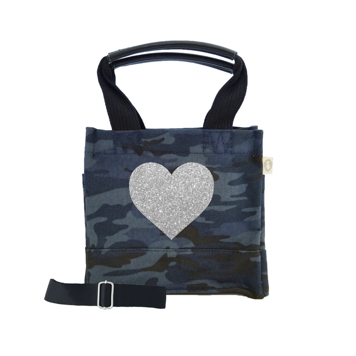 Love Collection: Mini Luxe North South Dark Blue Camouflage Silver Heart
