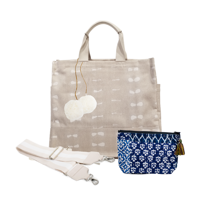 Stone Shibori North South Bag with Tan/Cream Strap, Cream PomPoms, & Blue Boho Makeup Bag