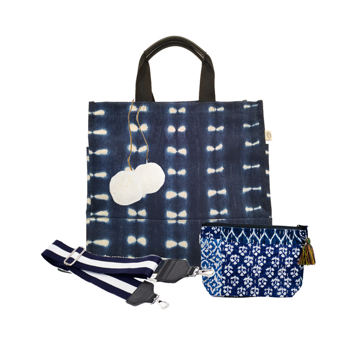 Blue Shibori North South Bag with Navy/White Strap, Cream PomPoms, & Blue Boho Makeup Bag