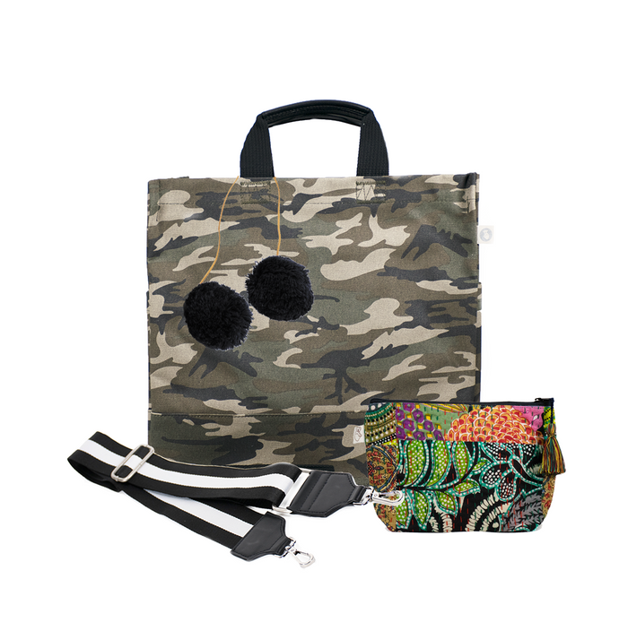 Green Camo North South Bag with Black/White Strap, Black PomPoms, & Dark Multi Boho Makeup Bag