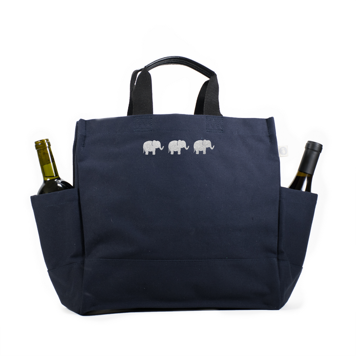 North-South Bag: Navy with Baby Elephants  Just $60 with code FUN