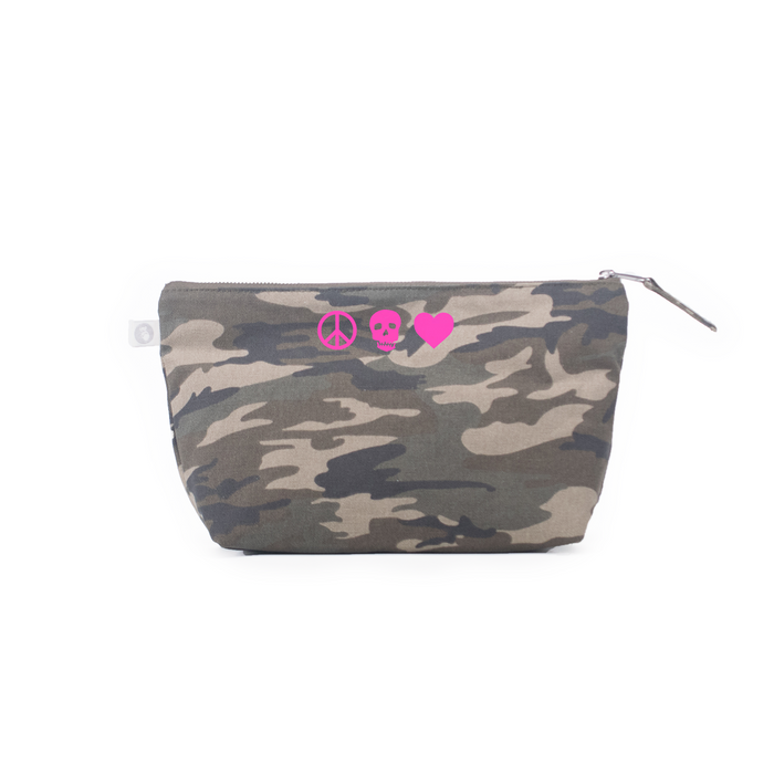 Peace Skull Heart: Clutch Bag Green Camo with Neon Pink