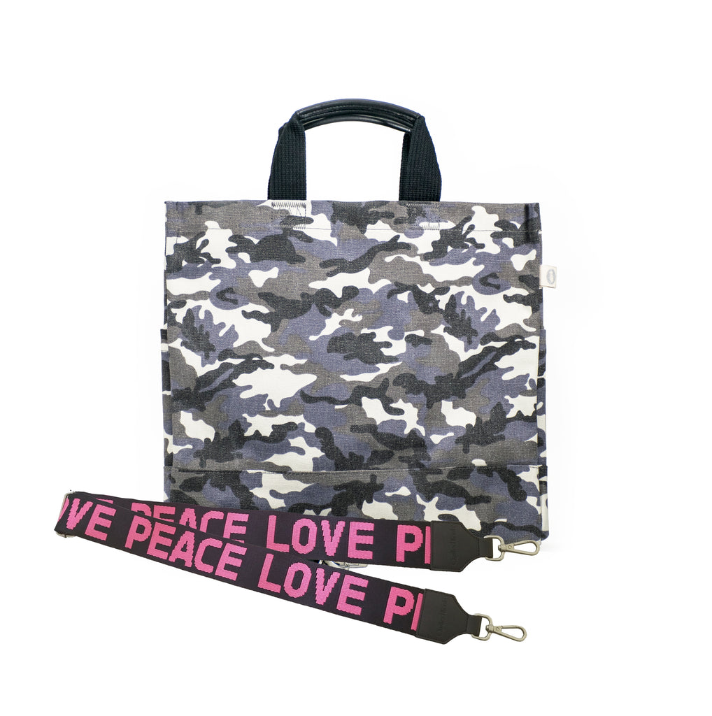 Monogram Stripe Grey Camo North South Bag