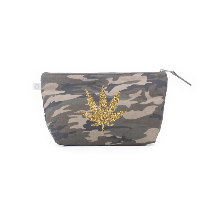 Clutch Bag: Green Camouflage - Gold Glitter Pot Leaf