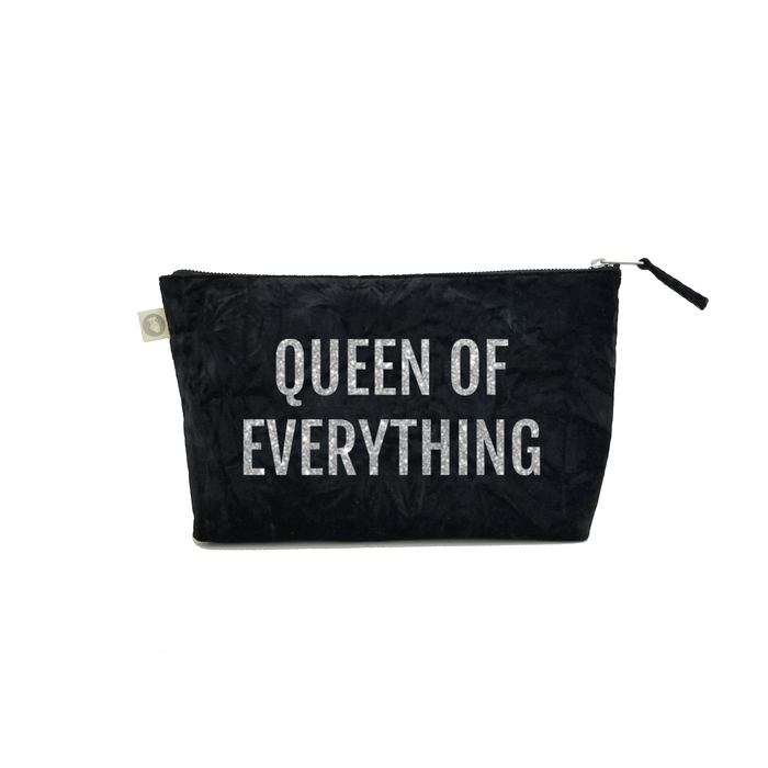 Clutch Bag: Black Crushed Velvet with Silver Queen of Everything