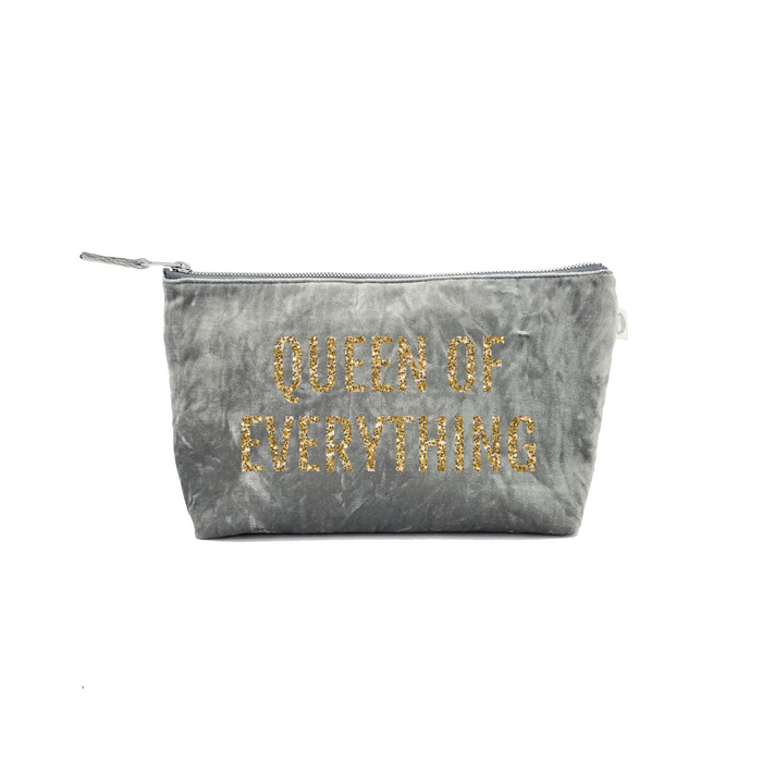 Clutch Bag: Grey Crushed Velvet with Gold Glitter Queen of Everything