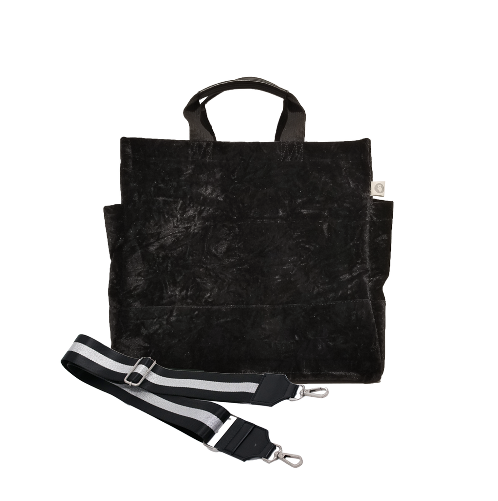 Split Letter Monogram Black Crushed Velvet North South Bag With Stripe Strap
