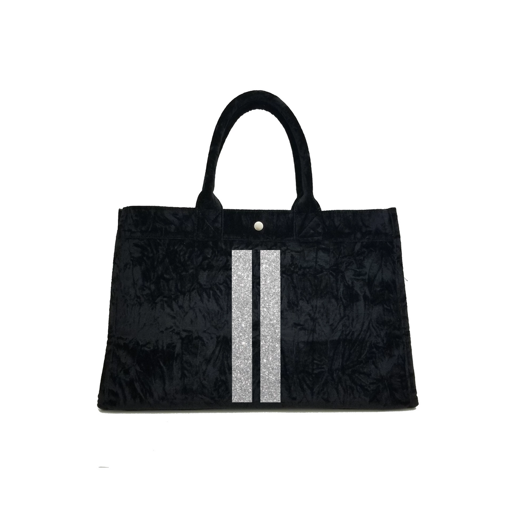 East West Bag: Black Crushed Velvet