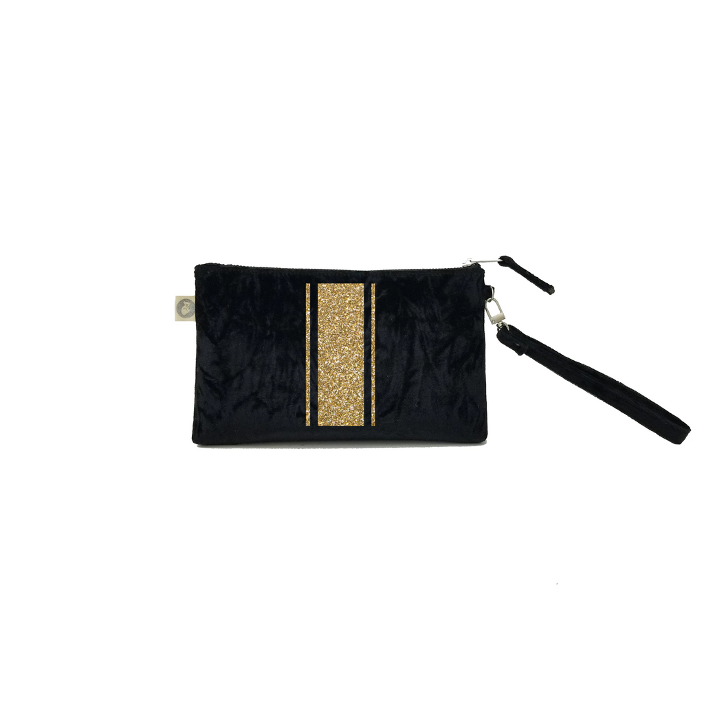 Mini Luxe Clutch with Wristlet: Black Crushed Velvet