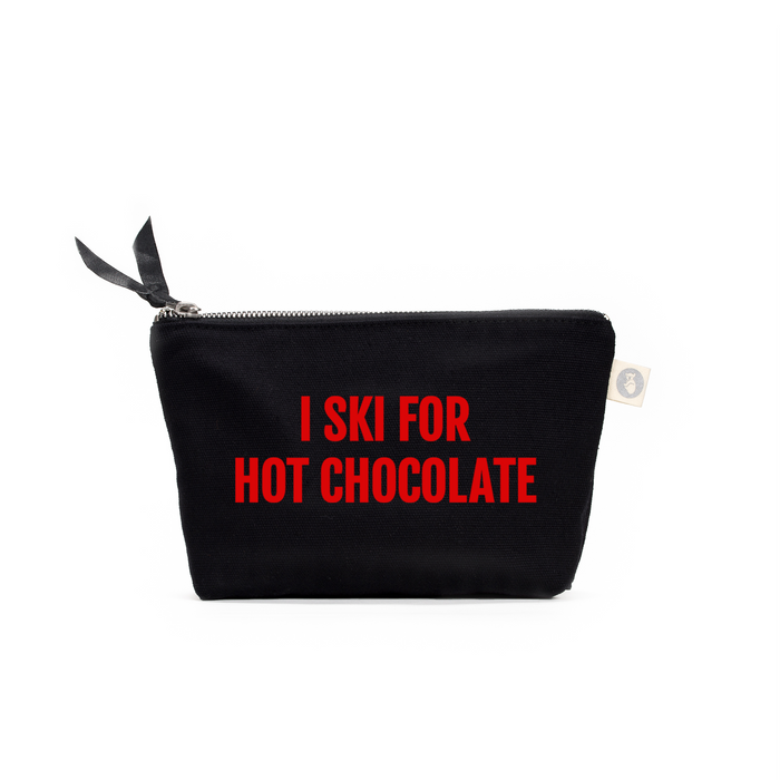 SKI Collection: Makeup Bag Black with Red Matte I Ski for Hot Chocolate