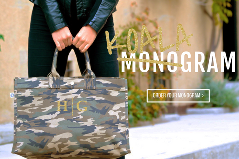 East-West Bag: Camouflage - Split Letter in Gold Glitter  plus free Pom Poms!